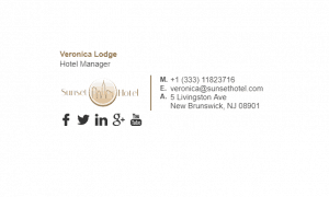 Email Signature Example for Hotel