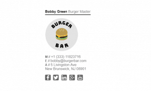 Email Signature Example for Restaurant