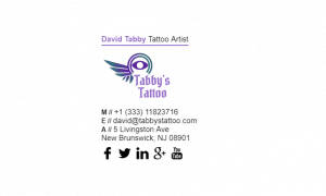 Email Signature Example for Tattoo Artist