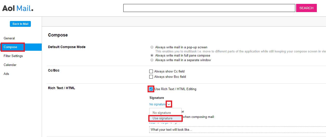 AOL Email Signature