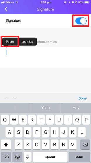 Yahoo Mail iOS Email Signature