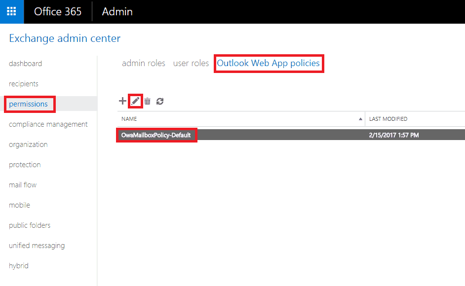 Office365 ECP Permissions