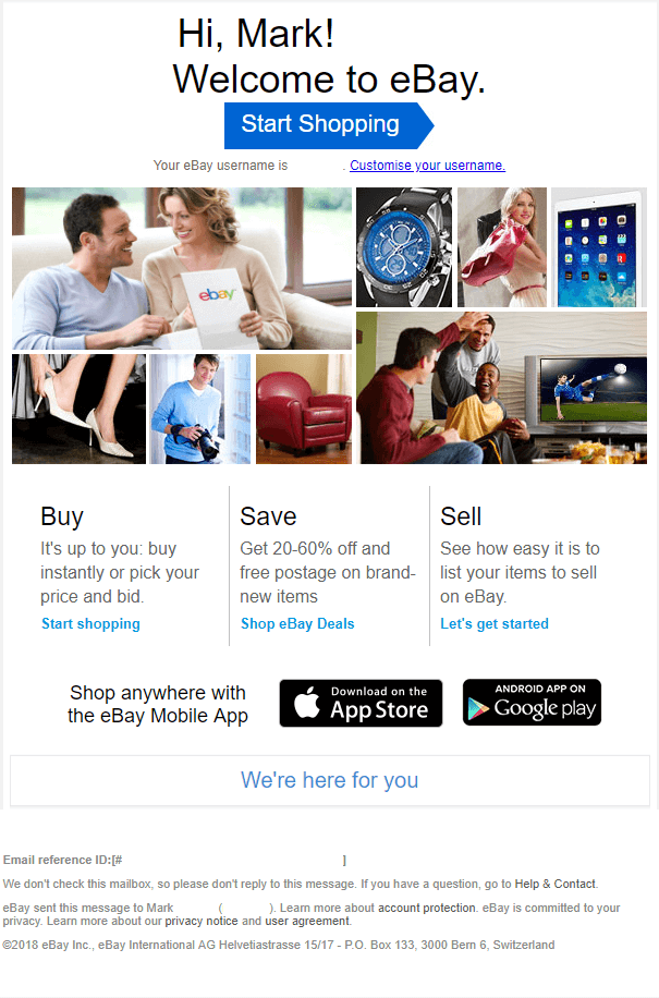 Ebay Welcome Emails
