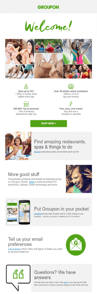Groupon Welcome Email