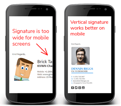 email signature too wide mobile