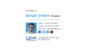 Email Signature Example for Dentists