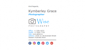 Email Signature Example for Photographers