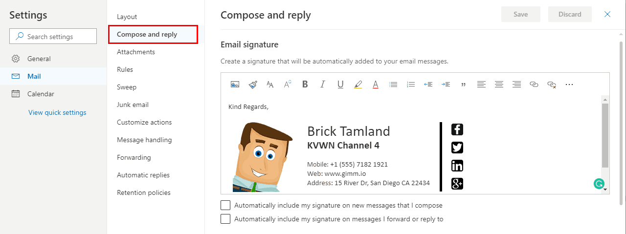 Office 365 Settings Compose and Reply