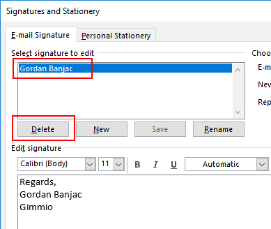 Outlook Delete Email Signature