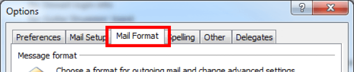Outlook Mail Format